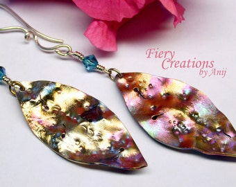 "Dangle Earrings ""Junkyard Leaves""- textured, punched & pierced copper leaves, colorful patina, handmade silver ear wires, crystal, OOAK"