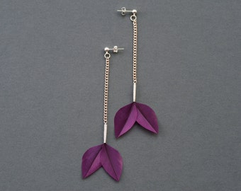 Minimalist Dangle Bud Real Feather Earrings on Long Chain and Silver Studs in Shiny Royal Purple