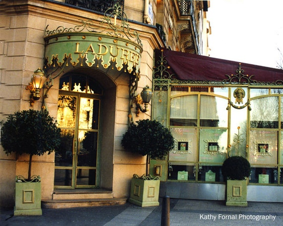 Paris Photography, Laduree French Patisserie, Champs Elysees Laduree, French Bakery Tea Shop, Paris Home Decor, Laduree Door Sign Prints