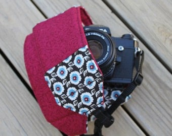 Monograming Included Wide Camera Strap for DSL camera in dark brown, marron, blue floral with lens cap pocket