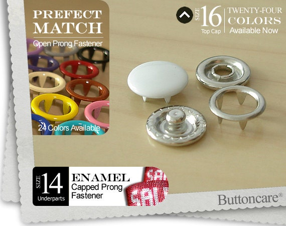 WHITE Cap cover press n snaps prong crafts buttons