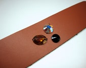 Women, Accessories, Bracelet, Tan Leather Cuff with Crystals