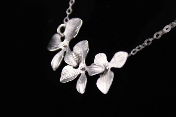 Bridesmaid Jewelry Silver Orchid Flower Wedding Necklace Lyla