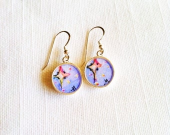 North Star, Christmas jewelry, hand painted, watercolor, north star illustration, sterling silver earrings