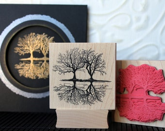 Winter Reflection trees rubber stamp from oldislandstamps