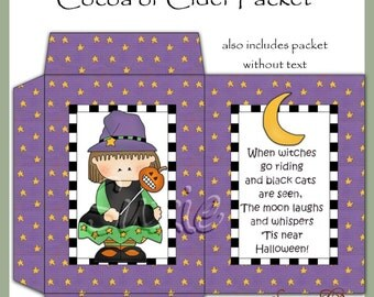 Witch Cocoa Packet - Dgital Printable - Immediate Download