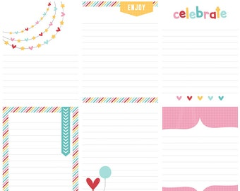 Celebrate Digital Journal Cards - 3x4 project life inspired printable scrapbooking journaling note cards  - instant download - CU OK