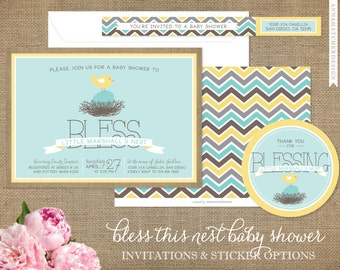 Bless This Nest Baby Shower Invitations, Bless Baby's Nest, Spring, Grey, Yellow, Robins Egg Blue, Mint, Pink, DIY or Printed