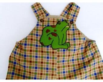 Baby Boy Jon Jon, Romper, Shortall, Appliqued Frog, Size 12 months