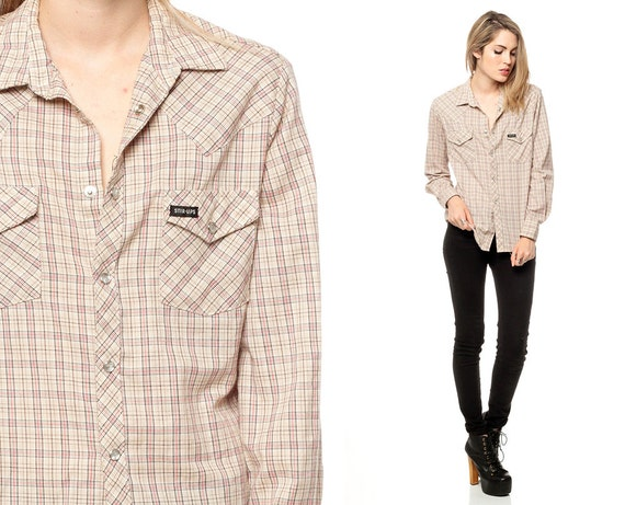 Plaid button down shirt 90s western pearl snap beige 1990s for Women s button down shirts extra long