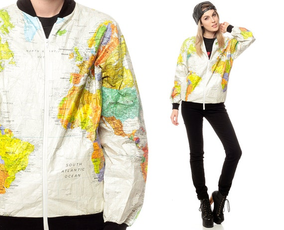 World map jacket 90s tyvek coat ussr white travel bright 80s world map jacket 90s tyvek coat ussr white travel bright 1990s vintage 80s hipster atlas oversized gumiabroncs Choice Image