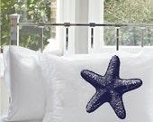 Two (2) Nautical Navy Blue Starfish Star Fish Pillowcases Standard White Pillow cover