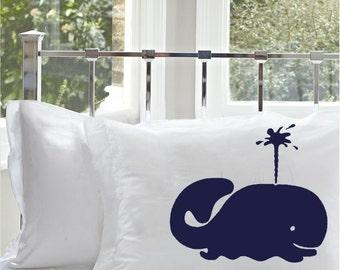 One (1) Navy Blue Spouting Whale White Nautical Pillowcase pillow cover standard