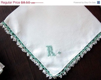 "Monogram  ""R"" on White Linen Hanky with Green Tatted Edging  and Embroidery"