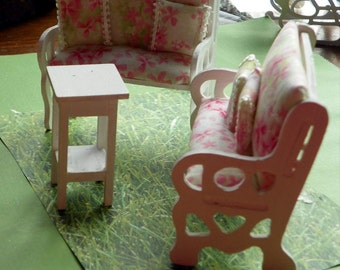 Miniature  3 piece Wooden  Patio set . Dollhouse Furniture #202