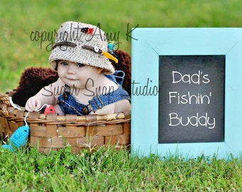 Bucket Fishing Hat, Baby Boy Hats, Photography Prop, Newborn to 24 mnths,  Crochet Baby Hats, Baby Boy Fishing Hat
