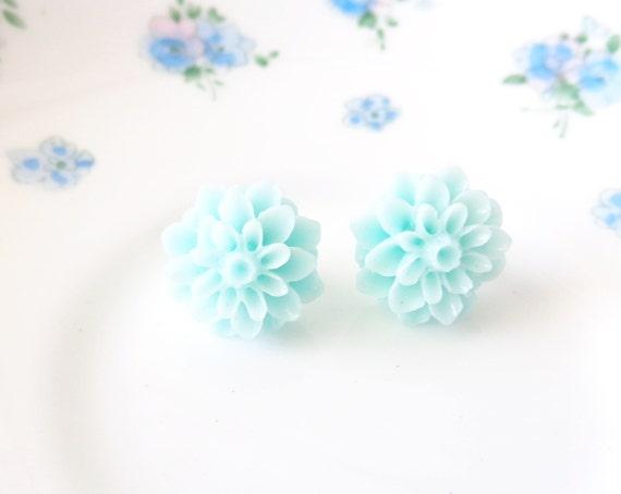 50% OFF - Spring Rain - Flower Stud Earrings - Seafoam Flower Earrings - Mint - Mum Earrings - Crysanthimum