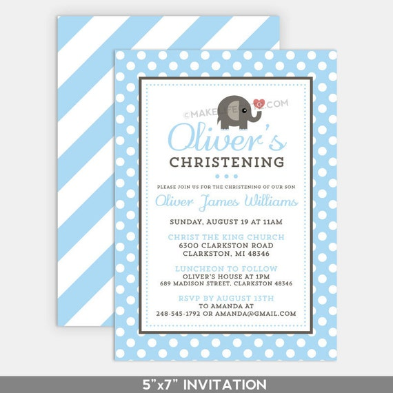 "ELEPHANT - Printable 5""x7"" Invitation - for Baptism, Christening, Dedication or First Communion - Baby Elephant Collection by Make Life Cute"