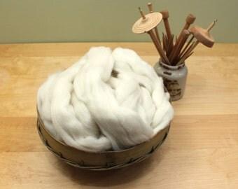 Shetland Wool - Natural White - Undyed Roving for Spinning or Felting (8oz)