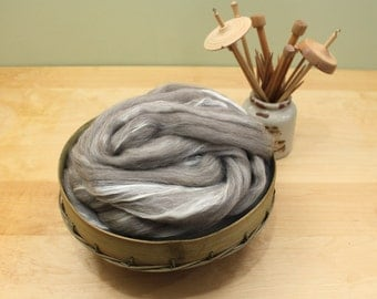 Oatmeal BFL / Silk - Undyed Roving for Spinning or Felting (8oz)