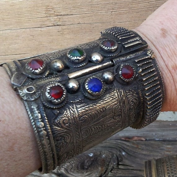 Vintage Etched and Bejeweled Metal Kuchi Tribal Hinged Cuff