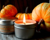 Soy Candle Tin Pumpkin Spice / 6 oz Primitive Fall Decor /  Holiday Candles