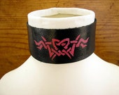"""Black and Pink Leather collar choker with pink tribal heart design  - 1 1/2"""" wide, and 14"""" long adjustable to 14 1/2"""""""