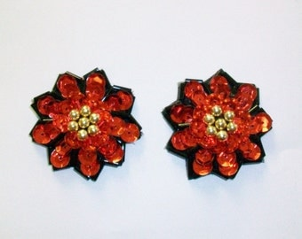 Vintage Red and Black Sequined Flower Earrings DEADSTOCK