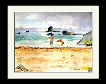 Bermuda Watercolor Print, Painting of Bermuda Beach, Framed Wall Art Decor, Bermuda Landscape painting seascape,