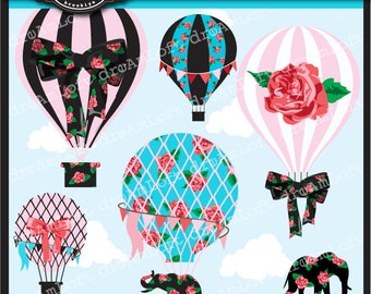Hot Air Balloons La Vie En Rose Clip Art Digital Collage Sheet Clipart for parties, stationary, invitations, scrapbooking