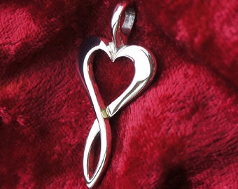 Infinite Love / Heart Pendant / Necklace, Heart Symbolic Jewelry, Sterling Silver