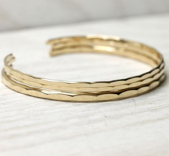 3 stacking cuffs, 1 Medium and 2 thin Ophelia cuffs in yellow gold fill in your custom size with free US shipping