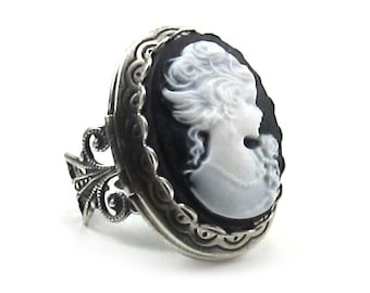 SALE 50% OFF Cameo RIng - Elegant Gothic Lolita Layered Cameo Locket Ring with Filigree Band in White on Black - By Ghostlove
