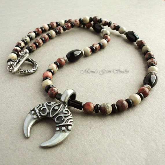 Mens Native American Beads: Necklace For Men, Crazy Horse Stone Black Onyx, Metal