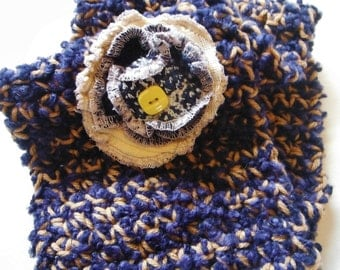 Navy Blue and Tan Crocheted Neckwarmer with Handmade Recycled Sweater Flower