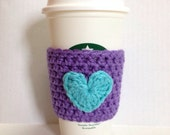 Purple Coffee Cozy Sleeve with Aqua Blue Heart
