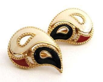 Vintage 90's Avon // Kaleidoscope Enamel Clip Earrings