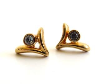 Vintage 80's Avon // Flying Bird Rhinestone Earrings