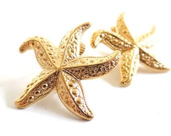 Vintage 80's Avon // Gold Starfish Clip on Earrings