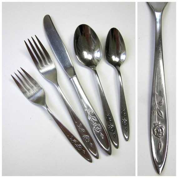 Oneida Community My Rose Stainless 41 Pc Flatware By Attysvintage