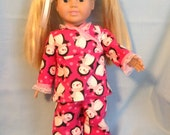American Girl doll or any 18 inch doll. 3 PC. Penguin Flannel Pajama Set. Includes Pajamas and booties.