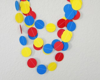 Blue Yellow Red Paper Garland, Children's Birthday Party Decorations, Little Peanut Elephant Circus theme baby shower, Circus theme nursery