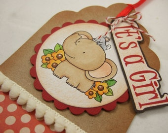 iT's A giRl - Baby Elephant Gift Tag