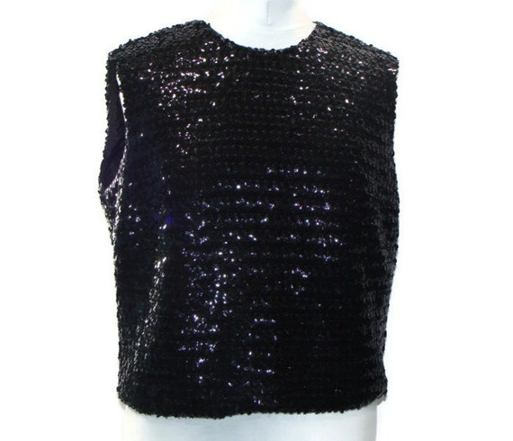 Black Sequin Tops Blouses Vintage Black Sequin Top Black