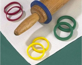 Evendough Bands for rolling pins 4 sets of 2 There are different widths for coookie or pie dough, fondant.