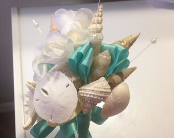 Beach Wedding Seashell Wand Bouquet for Bride Bridesmaids or Flowergirl