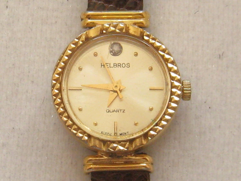 Vintage Helbros Japan Ladies Wrist Watch Lizard Band