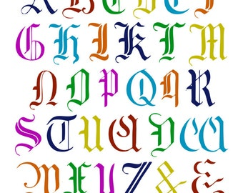 Medieval German Capital Alphabet Photoshop brush set and clipart for personal and limited commercial