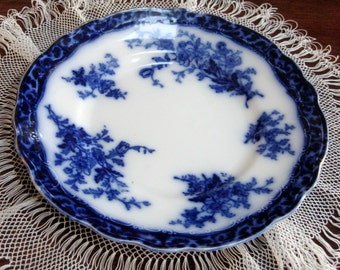 Vintage Flow Blue Plate Touraine Stanley England Cobalt Blue Dinner Serving 1910s