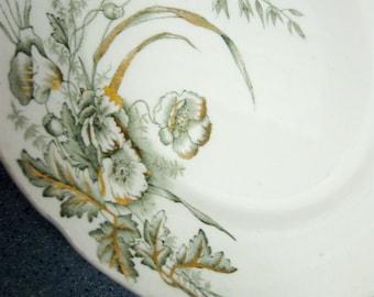 Vintage Ironstone Plate John Edwards Harvest Porcelaine de Terre England 1890s